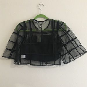 6d05e0dea4e Gracia Tops - NWT Gracia Black Caged Sheer Crop Top